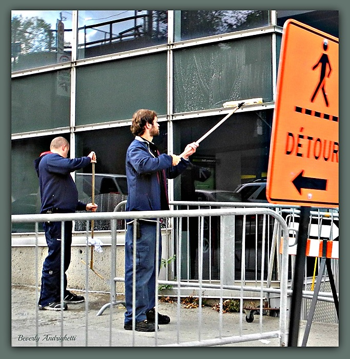 photoblog image Keeping Windows Clean In A Construction Zone